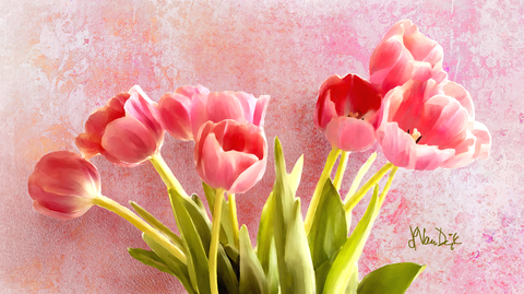 Pink Tulips Digital Painting