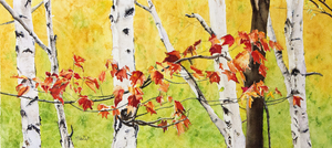 Maple & Birch Watercolour Painting