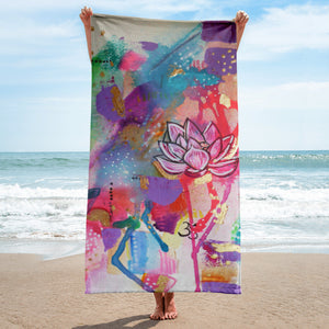 "Beach towel ""bathe in abundance"""