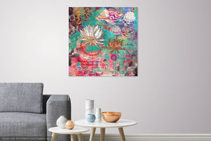 lotus wall art, lotus painting