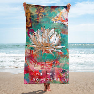 "Beach towel ""no mud, no lotus"""