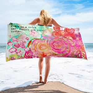 "Beach towel Rumi ""there is a voice that doesn't use words - listen"""