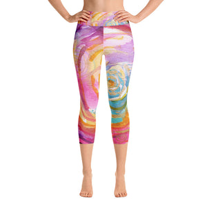 "Yoga Capri Pants Rumi ""what you seek is seeking you"""