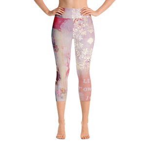 "Yoga Capri Pants ""lean towards joy"""