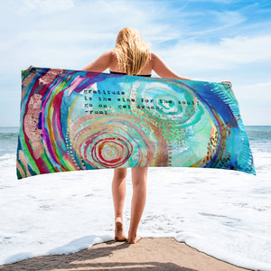 "Beach towel Rumi ""gratitude is the wine for the soul - go on, get drunk"""