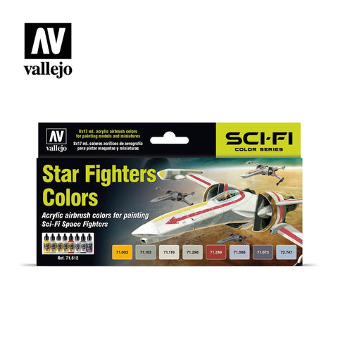 MODEL AIR STAR FIGHTERS 8 COLOUR ACRYLIC AIRBRUSH PAINT SET