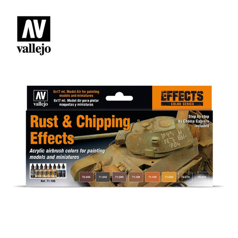 MODEL AIR RUST & CHIPPING EFFECTS COLOUR ACRYLIC AIRBRUSH PAINT SET