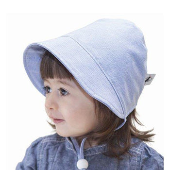 Puffin Gear Blue Oxford Cotton Infant and Toddler UPF50+ Sun Protection Bonnet
