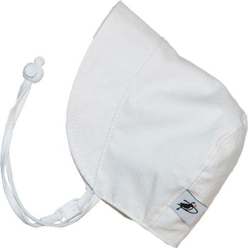 Puffin Gear White Oxford Cotton Infant and Toddler UPF50+ Sun Protection Bonnet