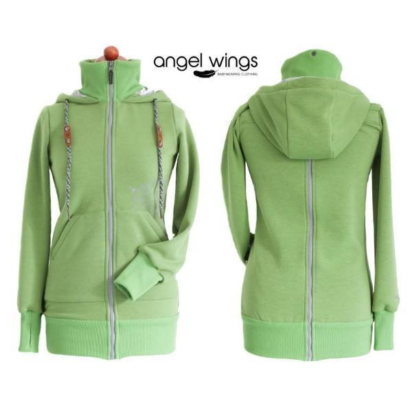 Angel Wings Babywearing Hoodie Green-Babywearing Outerwear-Angel Wings- Little Zen One US Babywearing baby carriers