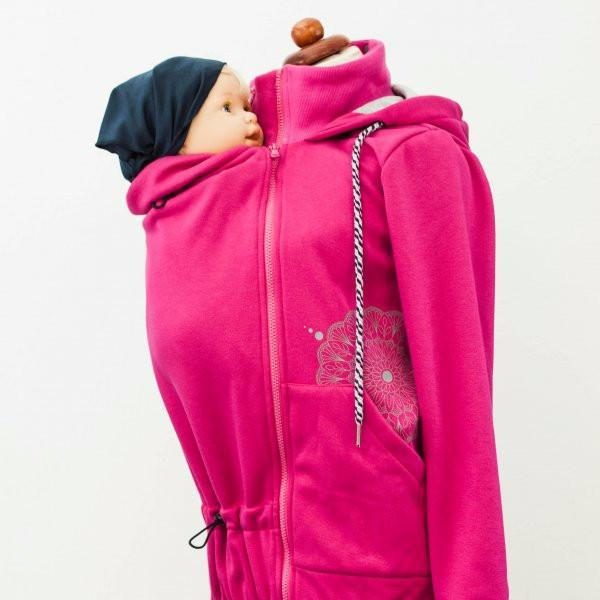 Angel Wings Babywearing Hoodie Raspberry Pink