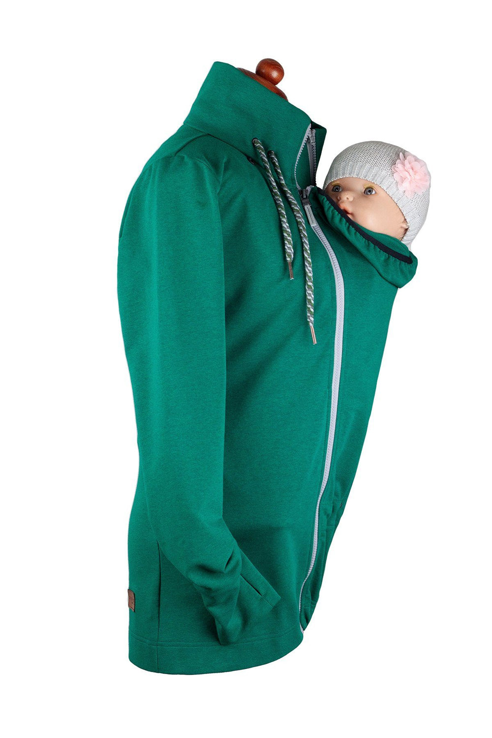 Angel Wings Babywearing Sweatshirt Emerald Green-Babywearing Outerwear-Angel Wings- Little Zen One US Babywearing baby carriers