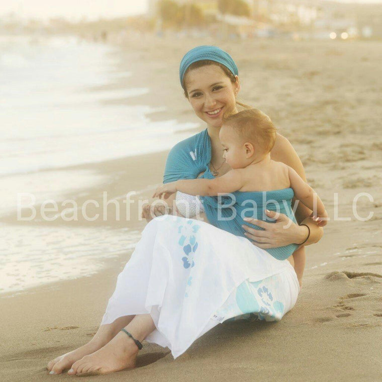 Beachfront Baby Water Ring Sling Caribbean Blue-Water Carrier-Beachfront Baby- Little Zen One US Babywearing baby carriers