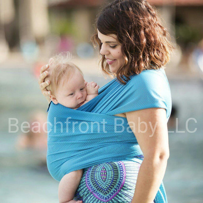 Beachfront Baby Water Wrap Caribbean Blue-Water Carrier-Beachfront Baby- Little Zen One US Babywearing baby carriers