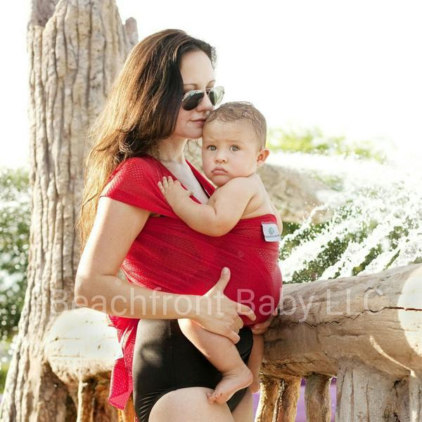 Beachfront Baby Water Wrap Tropical Punch (Red)-Water Carrier-Beachfront Baby- Little Zen One US Babywearing baby carriers