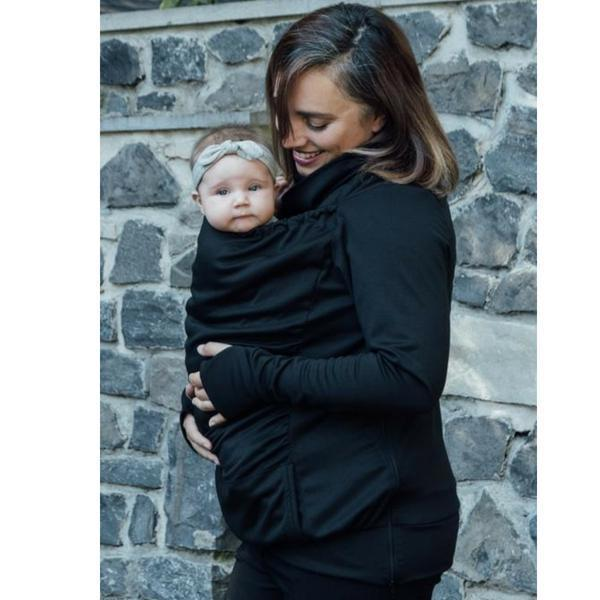 Belly Bedaine Kangaroo Babywearing Sweater Black-Babywearing Outerwear-Belly Bedaine- Little Zen One US Babywearing baby carriers