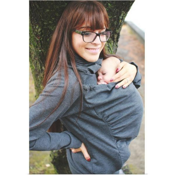 Belly Bedaine Kangaroo Babywearing Sweater Grey-Babywearing Outerwear-Belly Bedaine- Little Zen One US Babywearing baby carriers