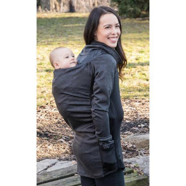 Belly Bedaine Kiroo Babywearing Sweater Grey and Black-Babywearing Outerwear-Belly Bedaine- Little Zen One US Babywearing baby carriers