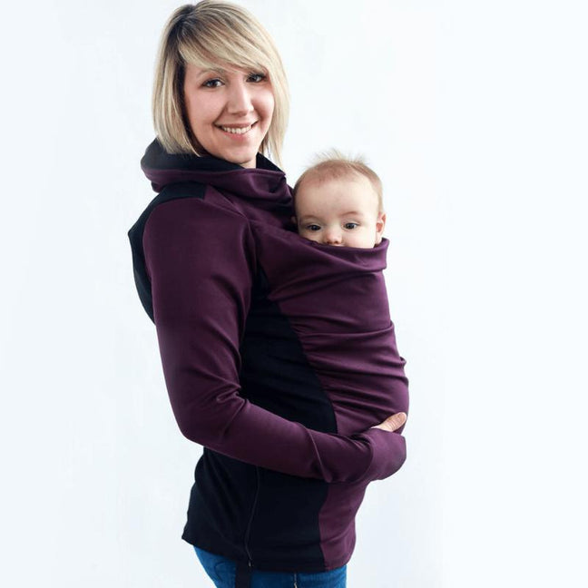 Belly Bedaine Kiroo Babywearing Sweater Plum and Black-Babywearing Outerwear-Belly Bedaine- Little Zen One US Babywearing baby carriers