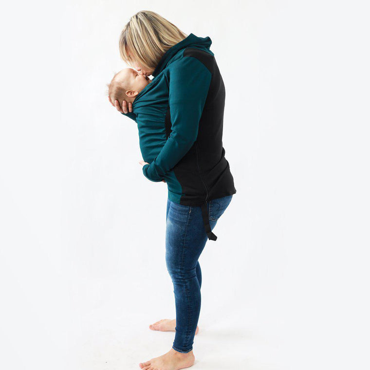 Belly Bedaine Kiroo Babywearing Sweater Teal and Black-Babywearing Outerwear-Belly Bedaine- Little Zen One US Babywearing baby carriers