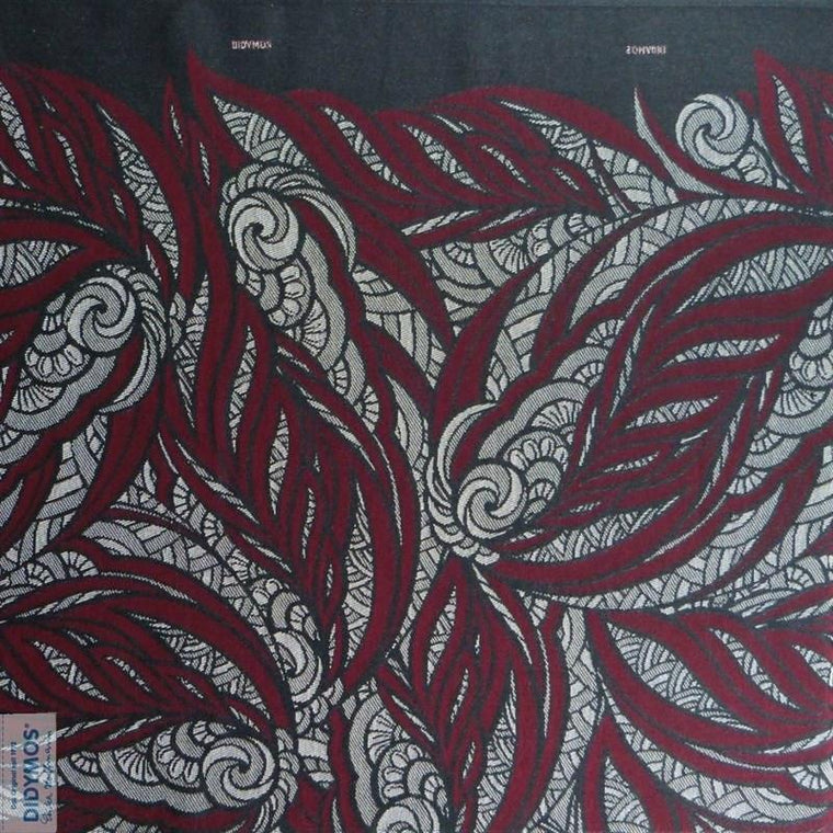 Didymos Baby Woven Wrap Jacquard Leaves Crimson-Woven Wrap-Didymos- Little Zen One US Babywearing baby carriers