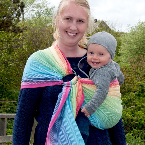 Didymos DidySling Rainbow White Lisca-Ring Slings-Didymos- Little Zen One US Babywearing baby carriers