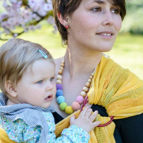 FrejaToys Pastel Sorbetto Rainbow Nursing Necklace-Babywearing Accessories-FrejaToys- Little Zen One US Babywearing baby carriers