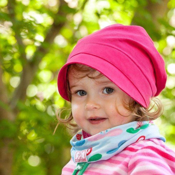 Pickapooh Organic Cotton UV Sun Bonnet: Luna Fuchsia-Babywearing Accessories-Pickapooh- Little Zen One US Babywearing baby carriers