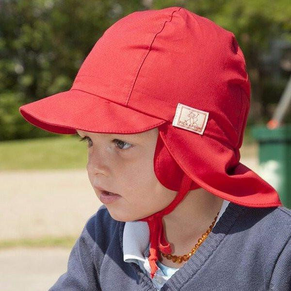 Pickapooh Organic Cotton UV Sun Hat: Tom Red-Babywearing Accessories-Pickapooh- Little Zen One US Babywearing baby carriers