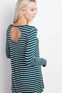 Hunter Green Stripes Top