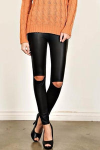 Vegan Knee Slit leggings