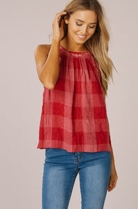 Checkered Rose Tank