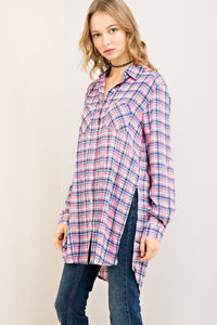 Pink Checkers Top