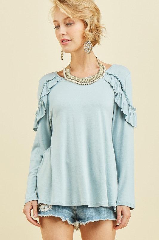 Ruffled Seafoam Top