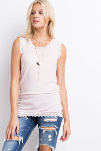 Lace Back White Tank