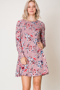 Mauve Moments Floral Dress