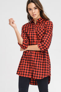 Everyday Red Plaid Top