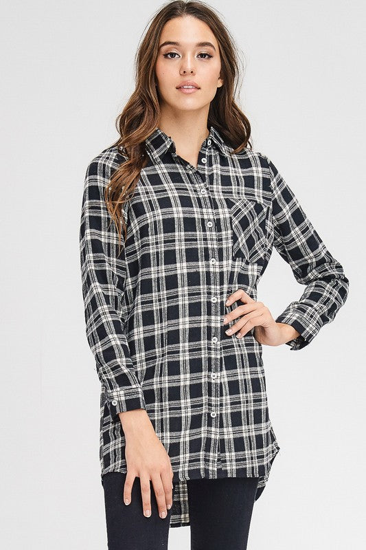 Everyday Black Plaid Top