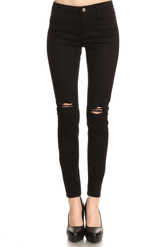 Distressed Black Ankle Length Denim