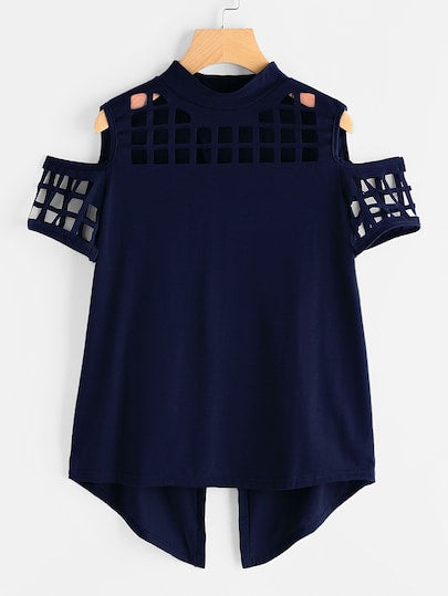 Tricou Laser Cut Blue