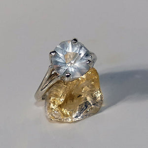 Ruination Ring Sterling Silver Size 7 Topaz 3.8 ct