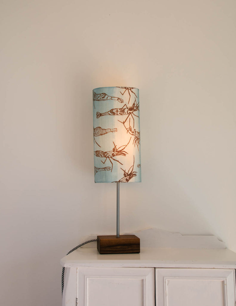 Lampe de table bleue motif crevette
