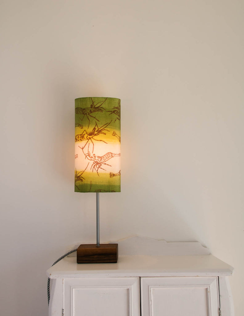 Lampe de table verte motif crevette