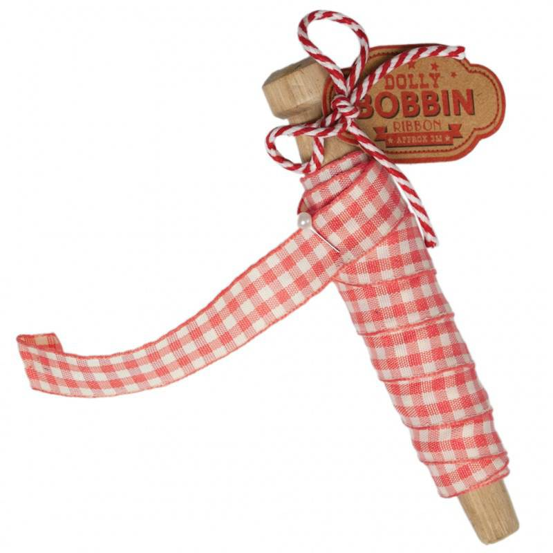 Dolly bobbin ribbon pink gingham.