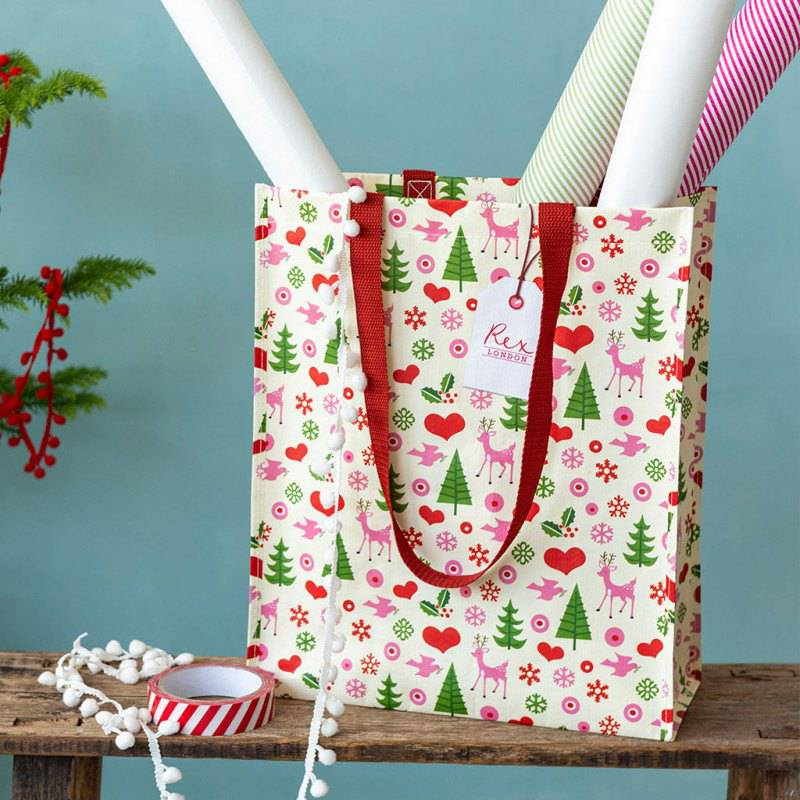 1950's Christmas design recycled shopping bag.