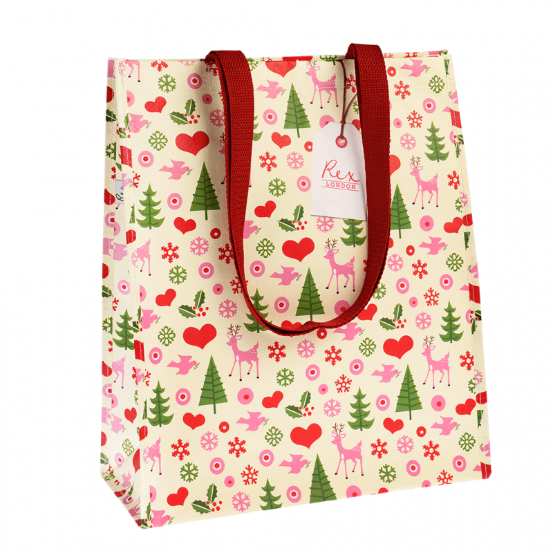 1950's Christmas design recycled shopping bag