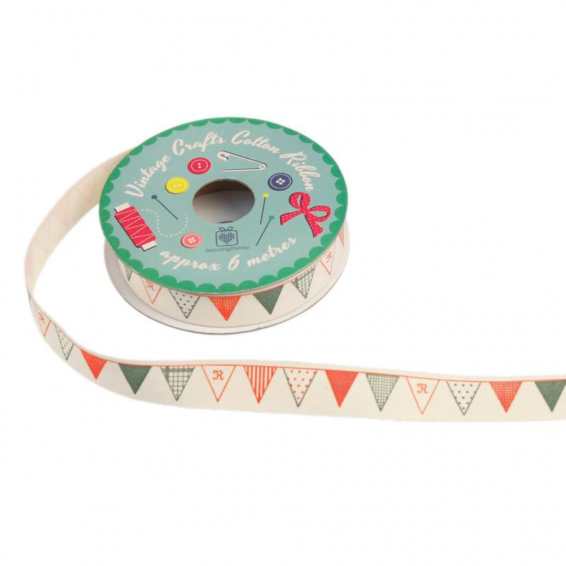 Vintage crafts ribbon bunting.