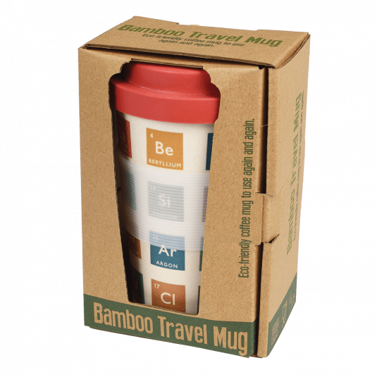 Periodic Table Bamboo Travel Mug With Lid.