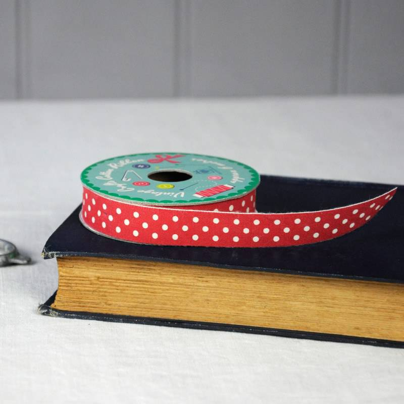 Vintage crafts ribbon red polka dots.