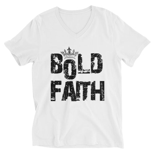 BOLD FAITH - UNISEX V-NECK (BLACK PRINT)